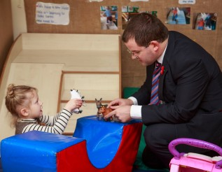 Mark McDonald,Minister for Childcare and Early Years,visited Stepping Stones Children's centre in North Edinburgh today.As part of its many services, the centre refers families to Save the Children's Eat,Sleep,Learn,Play! programme-an initiative that gives 'Material Grants'- such as cookers,cots,beds and other household items.